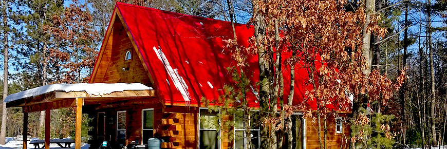 Red Roof Cabin in Winter